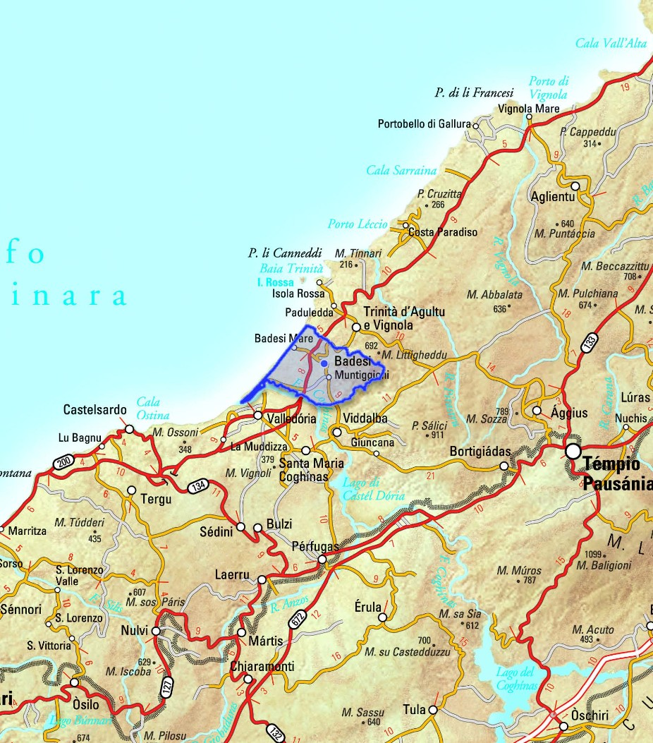 Cartina Sardegna Isola Rossa.Badesi Comune Nella Provincia Di Olbia Tempio Dove Una Delle Attrattive Di Badesi E La Vicinanza Dell Isola Rossa Che Deve Il Suo Nome Al Colore Delle Sue Rocce Le